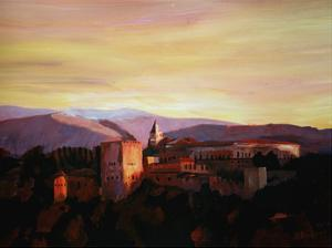 Alhambra Granada Spain With Snow Covered Mountains by M Bleichner