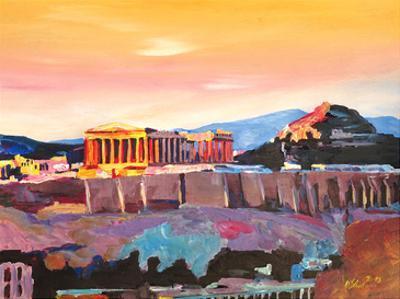 Athens Greece Akropolis At Sunset Neu by M Bleichner