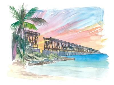 Bahia Honda Golden Sunset With Rail Bridge