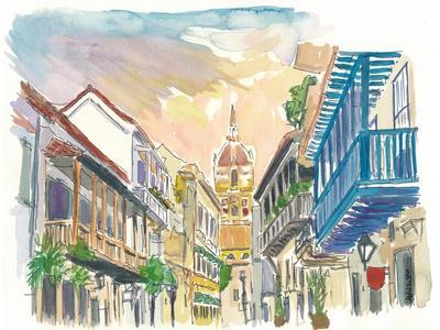 Cartagena Colonial Street Scene In Colombia