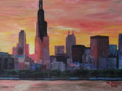 Chicago Sunset Red by M Bleichner