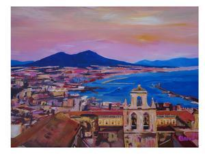 City Of Naples Italy With Mount Vesuvio And Gulf by M Bleichner