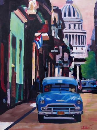 Cuban Oldtimer Street Scene In Havanna Cuba With Buena Vista Feelinng by M Bleichner
