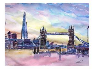 London England The Shard And Tower Bridge 2 by M Bleichner