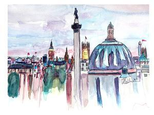 London Skyline With Big Ben And Nelson by M Bleichner