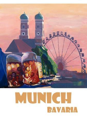 Munich Bayern Retro Travel Poster