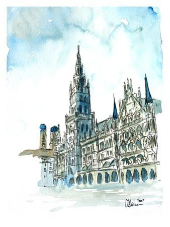 Munich City Hall Aquarell by M Bleichner