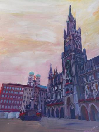 Munich Marienplatz With Church Of Our Lady At Sunset by M Bleichner