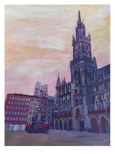 Munich Marienplatz With Church Of Our Lady At Sunset by M Bleichner