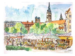 Munich Viktualienmarkt Aquarell by M Bleichner