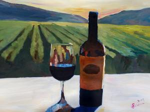 Napa Valley Wine Bottle And Glass by M Bleichner