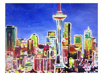 Neon Shimmering Seattle Skyline