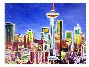 Neon Shimmering Seattle Skyline by M Bleichner