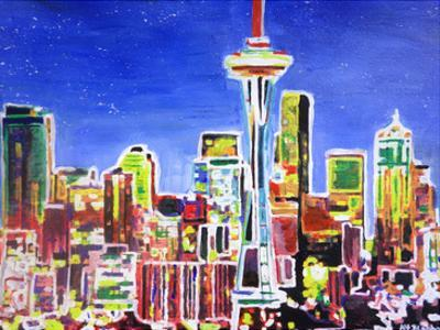 Neon Shimmering Seattle Skyline by M Bleichner
