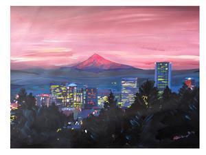 Portland Or Mt Hood Red by M Bleichner