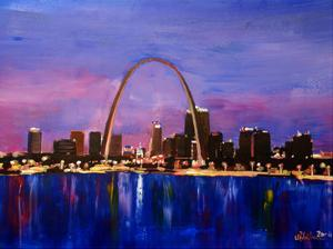 St Louis Arch Gateyway At Sunset by M Bleichner