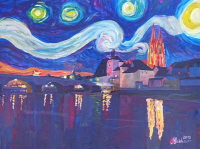 Starry Night In Regensburg by M Bleichner