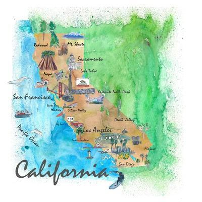 USA California Travel Poster Map With Highlights And Favorites