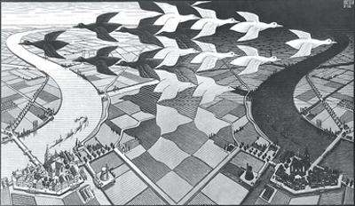 Day and Night by M. C. Escher