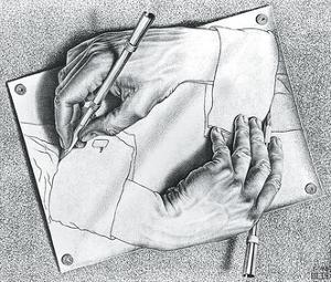 Drawing Hands by M^ C^ Escher