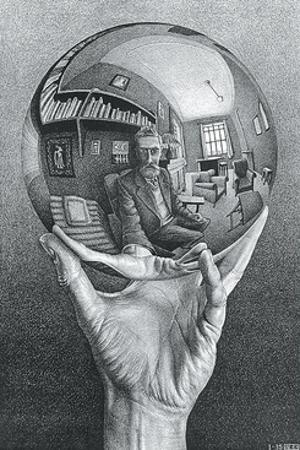 Hand with Reflecting Sphere by M^ C^ Escher
