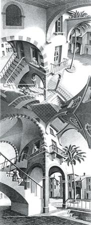 High and Low by M. C. Escher