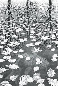 Three Worlds by M^ C^ Escher