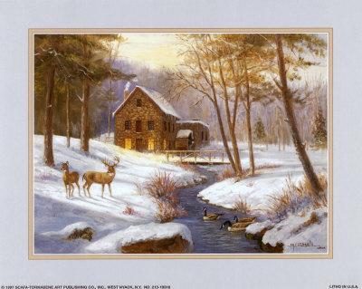 Log Cabin with Deer
