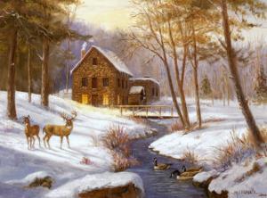Log Cabin with Deer by M^ Caroselli