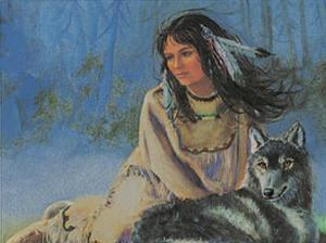 Maiden with Wolf by M^ Caroselli