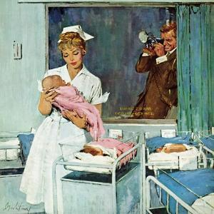 """""""Father Takes Picture of Baby in Hospital,"""" March 11, 1961 by M^ Coburn Whitmore"""
