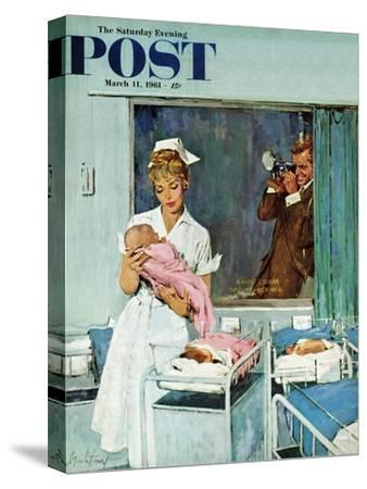 """""""Father Takes Picture of Baby in Hospital,"""" Saturday Evening Post Cover, March 11, 1961"""