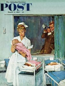 """Father Takes Picture of Baby in Hospital,"" Saturday Evening Post Cover, March 11, 1961 by M^ Coburn Whitmore"