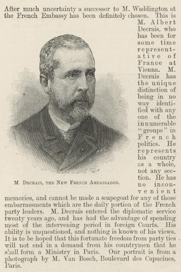 M Decrais, the New French Ambassador--Giclee Print