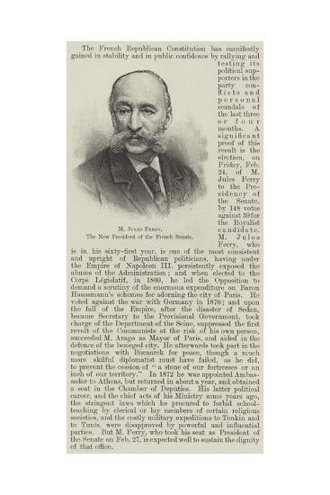 M Jules Ferry, the New President of the French Senate--Giclee Print