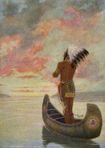 Hiawatha's Departure: Hiawatha Sails Westward into the Sunset by M^ L^ Kirk