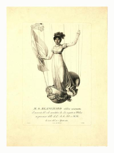 M.S. Blanchard, (Madeleine Sophie Armand) French Aeronaut, 19th Century--Giclee Print