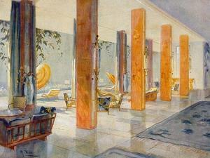 Garden Hall of a Hotel, 1929 (Colour Litho) by M. Stier