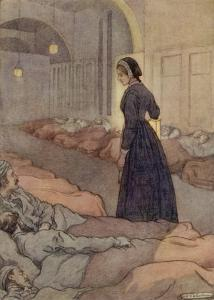In Scutari Florence Nightingale Checks Patients During the Night by M.v. Wheelhouse