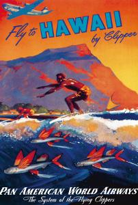 Fly To Hawaii by Clipper, Pan American World Airways c.1940s by M^ Von Arenburg