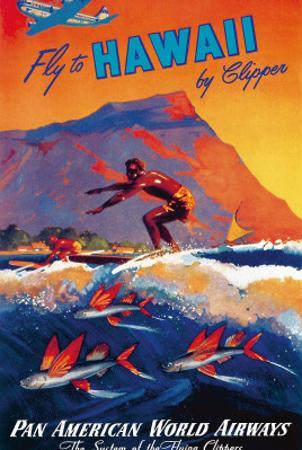 Fly To Hawaii by Clipper, Pan American World Airways c.1940s by M. Von Arenburg