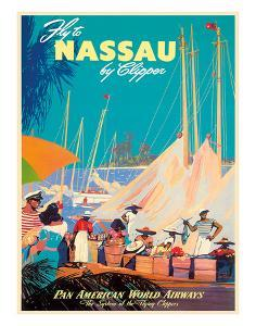 Fly to Nassau by Clipper - New Providence Island, The Bahamas - Pan American World Airways (PAA) by M^ Von Arenburg