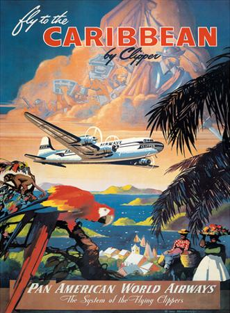 Pan American: Fly to the Caribbean by Clipper, c.1940s by M. Von Arenburg