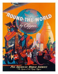 Pan American: Round the World by Clipper, c.1949 by M^ Von Arenburg