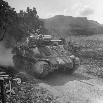 M4 Sherman Tank in Action During the Us Invasion of Saipan-Peter Stackpole-Photographic Print
