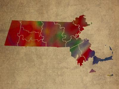MA Colorful Counties-Red Atlas Designs-Giclee Print