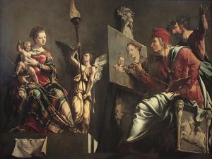 Saint Luke Painting the Virgin by Maarten Jacobsz van Heemskerck