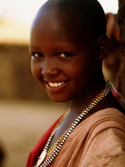 Maasai Girl, Masai Mara National Reserve, Kenya-Tom Cockrem-Photographic Print