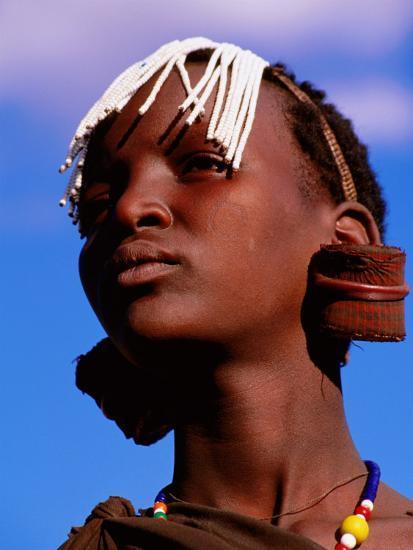 Maasai Girl with White Beads Indicating She Has Been Circumcised, Longido, Arusha, Tanzania-Ariadne Van Zandbergen-Photographic Print
