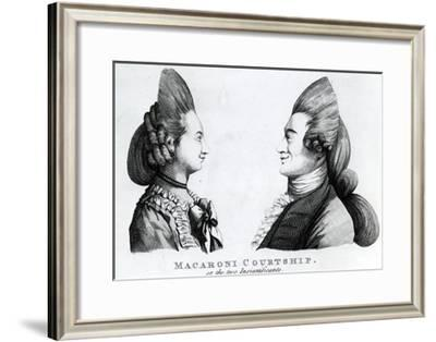 Macaroni Courtship, or the Two Insignificants, Published by M. Darly, 1772--Framed Giclee Print